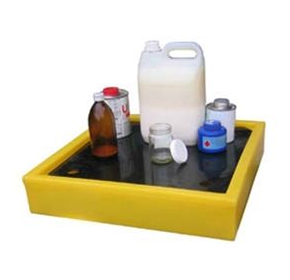 Safe, chemical resistant drip, storage and catchment trays