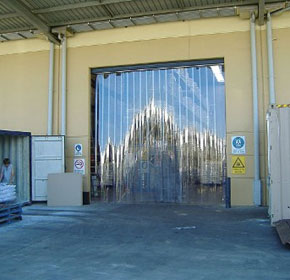 Sliding strip curtains used for workshop safety