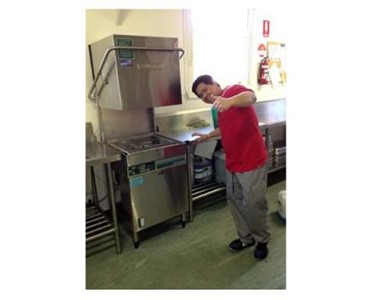 Commercial dishwasher installation for the catering industry.