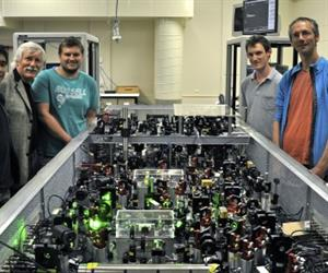 Vincent Daria, Hans Bachor, Jiri Janousek, Michael Taylor and Joachim Knittel taking data with the quantum microscope which was built and operated at the ANU.