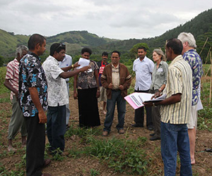 CAPTION: Workshop participants visit a farm to learn about the challenges faced by growers in producing vegetables for market.
