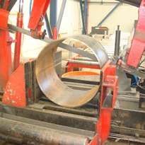 Sawing 600 diameter carbon tube.