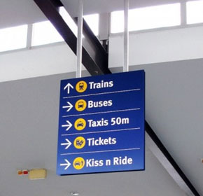 Suspended Hanging Wayfinding Sign | Arrow Alpha