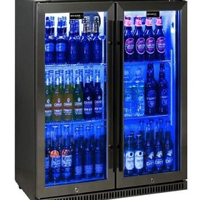 Schmick Black Stainless Steel Bar Fridge SK190-BS