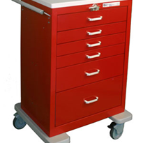 Resuscitation Emergency Trolley - Steel | Waterloo UTRLU-333369-RED