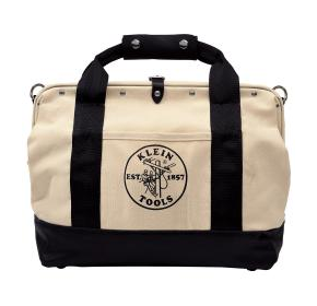 Pocketed Canvas Tool Bag with Leather Bottom | 18''