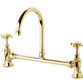 Victorian Exposed Basin Set with Swivel Outlet | Brass Gold