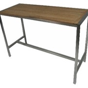 Stainless Steel & Teak Dry Bar Table