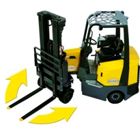 Forklift manoeuvres - controlling rear end swing