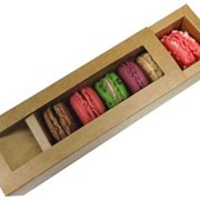 6 Pack Macaroon Box with Window | MAC-06-KRAFT