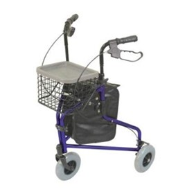 Blue Deluxe Lightweight Tri Walker with Bag & Basket | VP172AB
