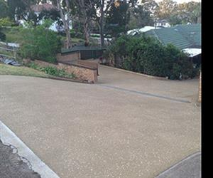 Antislip and speckle coated driveway after application