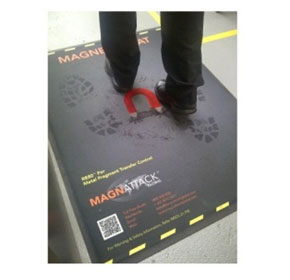 Magnetic mat used for metal fragments in poultry proccessing