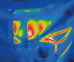 The FLIR thermal imaging camera was able to detect a temperature increase in the electrical wiring and components.