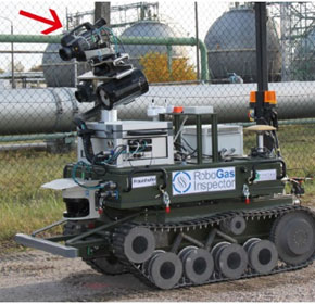 Remote detection of gas leaks with autonomous inspection robots