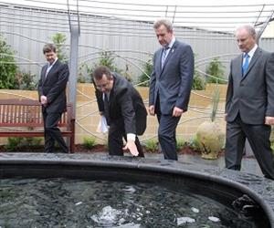 Premier Barry O'Farrell, Kevin Andrews, Kevin Conolly and Gary Barnier at the new home memorial garden. Photo: Gene Ramirez for Blacktown Sun