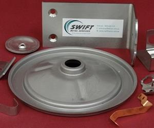 Pressed metal components produced in Australia by Swift Metal Services.