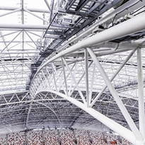 Moving retractable roof of world's largest free-spanning dome stadium