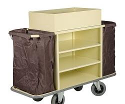 Stainless steel maid's trolley available from Wagen Hospitality.