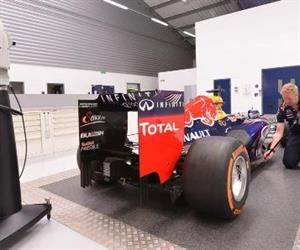 Leica AT960 Laser Tracker with T-Probe inspecting the body of an F1 car.