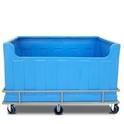 Large moulded-plastic bulk-laundry multi-purpose poly tub trolley
