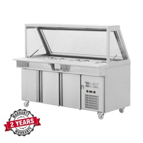 Salad Prep Refrigerated Counter Three Doors