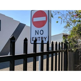 2.1m high x 2.4m Steel Security Fence Panel, Powder Coated Black
