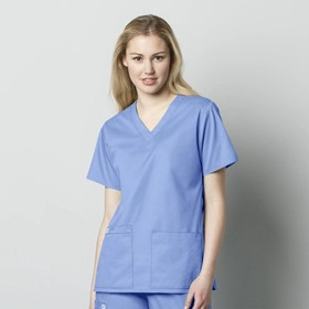 101 WonderWORK Women's V-Neck Medical Scrub Top with 2 Pockets