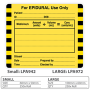 "Medical Identification Label ""For EPIDURAL Use Only"""
