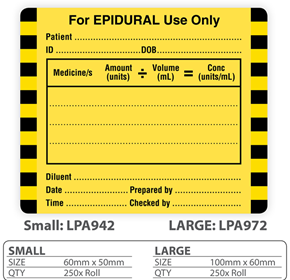 "Medical Label ""For EPIDURAL Use Only"""