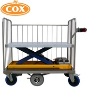 Powered Platfrom Trolley with Electric Scissor Lift Rising Base - Supplied by R.J. Engineering