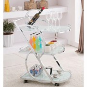 Cocktail Trolley - Chrome with White Glass