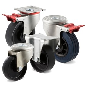 Heavy duty castors, J Series, 300kg load 100/125mm diameter - Fallshaw