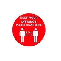 Keep Your Distance 1.5m Floor Marking Sign - 400mm - Self Adhesive