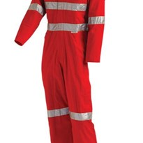 Lightweight Red Safety Protective Coverall with Tape | WORKIT