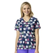 Medical Scrubs | Z12202 Pearly Whites Dental Print Nurse Printed Top