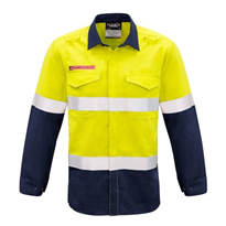 Hi-Vis WorkWear | Syzmik Mens FR Hooped Taped Spliced Shirt