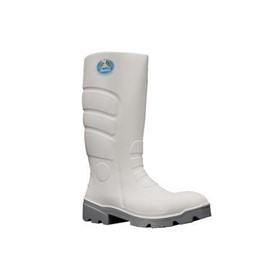 GB912 Worklite PU Gumboots, Safety Toe - White/Grey