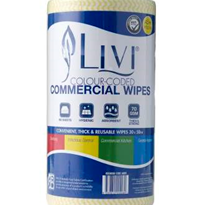 90 Sheet Yellow Anti-Bacterial Commercial Wipes | Livi® Essentials