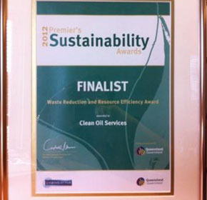 Clean Oil Services - finalist in 2012 Premier's Sustainability Awards