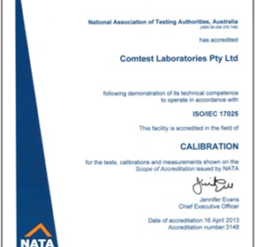 NATA accreditation for laboratory, general purpose meter calibration