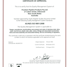 Prochem AS/NZS/ISO 9001:2008 Certification