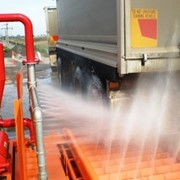 Truck tyre washing system for concrete recycling facility