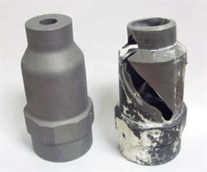 LEFT: Stainless steel full cone nozzle. RIGHT: same nozzle after spraying with limestone slurry. The erosion and corrosion occurred in less than 2 weeks, demonstrating the need for choosing the correct nozzle material to suit the conditions.
