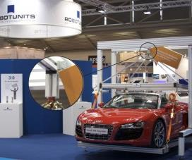 Robotunits Audi R8 Spyder suspended by a single connector!