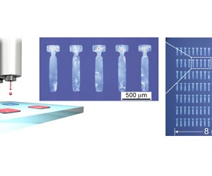 Single-crystal thin films of organic semiconductors formed at respective positions by a new inkjet printing technique.