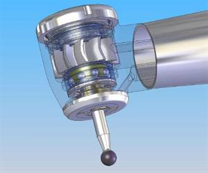 Figure 1: image of a dental turbine head equipped with a rotor, rotor shaft, ball bearings, and drilling tool.