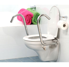 Sloped Toilet Support Rail with Adjustable Handles