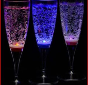 LED Nightclub Supplies | Liquid Activated Champagne Glasses 6 Pack