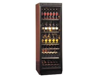 The attractive design of the refrigerated wine cabinet provides superb presentation of fine wines.